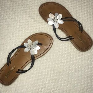 Roxy brand flower sandals.